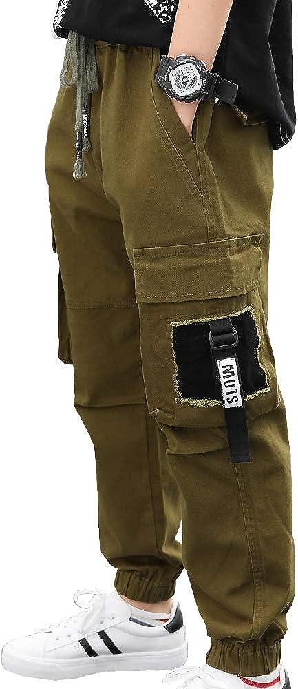 CNMUDONSI Big Boys' Pants Size 8-16 Elastic Waist Adjustable Cotton Cargo Pants