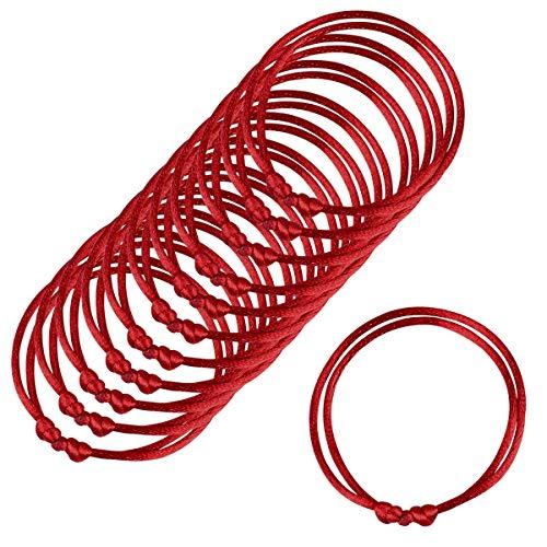 Paquete de 12 pulseras rojas, Pulseras de cordel rojo Lot-Kabbalah, cuerda roja hecha a mano, pulsera ajustable Cabalá, buena para la riqueza y el amor, talla única