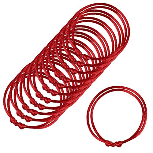 12 Stück rotes Armband, handgemachte rote Schnur, verstellbares Armband Kabbalah, gut für Reichtum und Liebe, Einheitsgröße