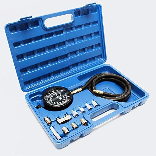 WilTec Kit Mesure de Pression d'huile Manomètre Jauge Testeur Appareil Contrôle de Pression 0-21 Bars
