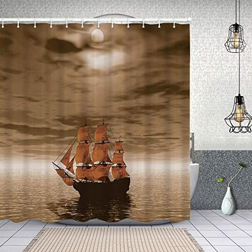Duschvorhang,Einsames Schiff, das im Ozean mit verwittertem Grunge-Effekt-Seemotiv segelt,Enthält 12 Duschvorhanghaken waschbar,Wasserdicht Bad Vorhang für Badezimmer Badewanne 150X180cm