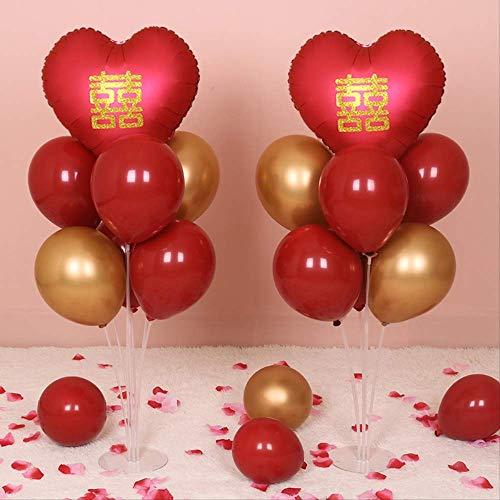 Exc bruiloftsaccessoires, rode ballonnen, zuilen, standaard, rails, basis, hal-tafel, bruiloft, banket, bruiloft, design, decoratie, 2 stuks