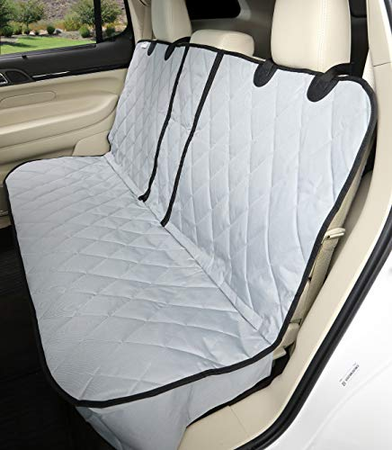 4Knines Dog Seat Cover Without Hammock for Fold Down Rear Bench Seat 60/40 Split and Middle Seat Belt Capable - Heavy Duty - Grey Regular - Fits Most Cars, SUVs, and Small Trucks - USA Based Company