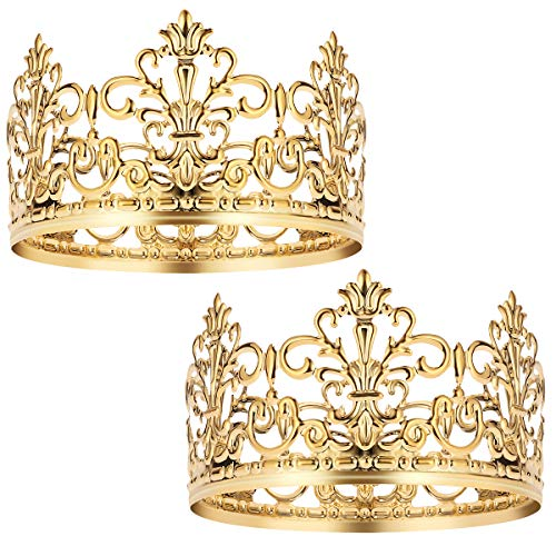 BESTONZON 2 pcs Gold Crown Cake Topper Gold Wedding/Birthday Cake Decoration for King, Queen, Prince and Princess Party
