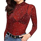 DongDong Sequin See-Through Glitter Top for Women,2019 Long Sleeve Mesh Sheer Blouse Red