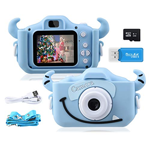 GREPRO Kids Camera,1080P 20MP 2.0 Inches Screen Toddler Digital Camera for Boys and Girls Anti-Drop Children Camera for Birthday Toy Gifts 4-14 Year-Old with Soft Silicone Case,32GB SD Card (Blue)