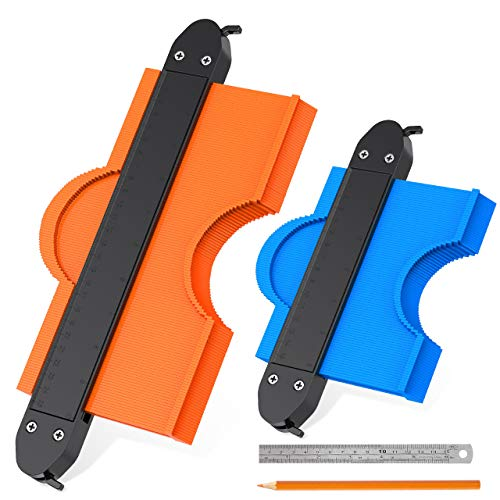 Aimtop Contour Gauge, 2 Pcs Contour Gauge Duplicator with Lock, 6In & 10In Shape Duplicator Profile Gauge Tool for DIY Woodworking Carpentry Flooring Handyman