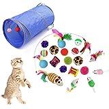 QIMMU katzenspielzeug Set mit katzentunnel,Katze Toys Variety Pack,katzenspielzeug Pack,Kätzchen Maus Spielzeug Set,Spielzeugmäuse,Spielzeug für Katzen Kitty 21 Stück