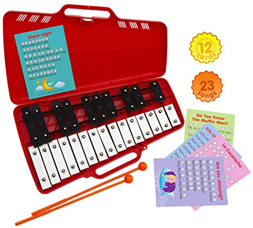 Xylophone 25 Note Chromatic Glockenspiel in a Red Plastic Case - Card Sets with 23 Letter-Coded Songs