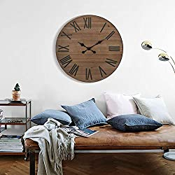 Farmhouse Large Wall Clock Silent Living Room Decor, 24 Inches Round Rustic Wooden Wall Clocks with Roman Numerals for Home Office Kitchen