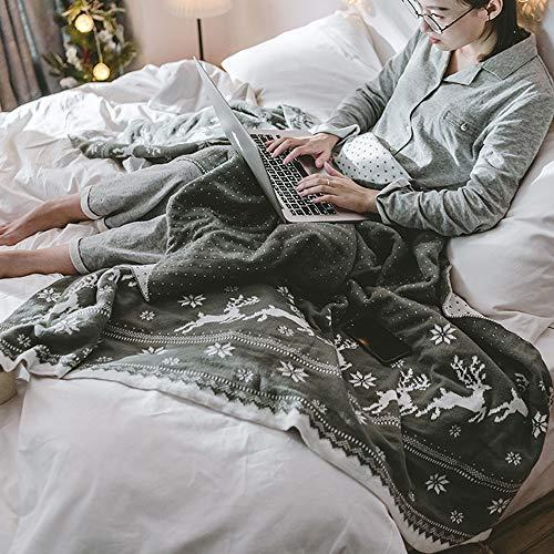 Manta de lana roja, manta para cama súper suave y cálida de Navidad, chal de ciervos, manta superior de punto peinado para la familia, manta de ocio, ligera, acogedora