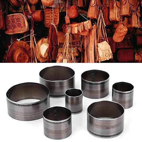 7PCS Juego de troqueles de corte de cuero, Puncher circular hecho a mano de cuero Molde de troquel Artículos de marroquinería Plantilla de tratamiento artesanal Cortador Herramienta de perforación