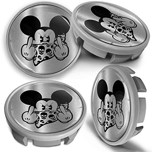 SkinoEu 4 x 65mm Tapas de Rueda de Centro Centrales Llantas Aluminio Tapacubos Compatibles con VW Número de Pieza 3B7601171 / 6U7601171 Gris Plata Mickey Mouse CVS 13