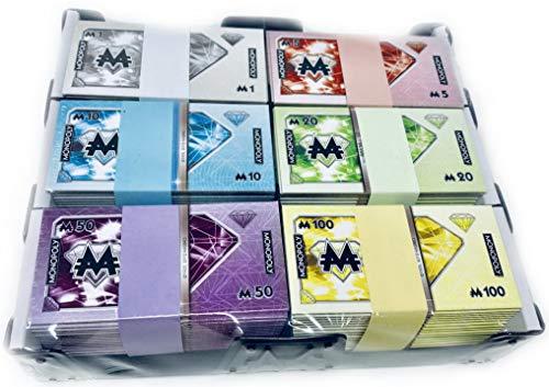 Monopoly Millionär Geld - Banknoten Ersatzgeld 90 Scheine im Sortierrahmen - Maße eines Geldscheins 7,5x4cm