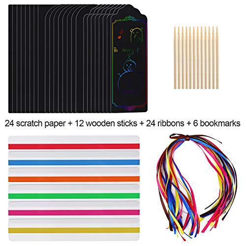 AYPOW 24 Sets Scratch Art Lesezeichen, 3 Style Magic Rainbow DIY Lesezeichen mit geführten Lesestreifen, Lesezeichen für Kunst- und Bastelpapier für Kindergeburtstagsspiel, Partyzubehör