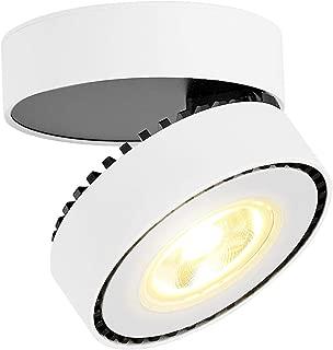 TOPMO Indoor 12W LED Spotlight Adjustable Ceiling Light/Surface Mounted spotlights/3000K Warm white/10X6CM/Wall Lamp or Ceiling Spotlight (White-Warm White)