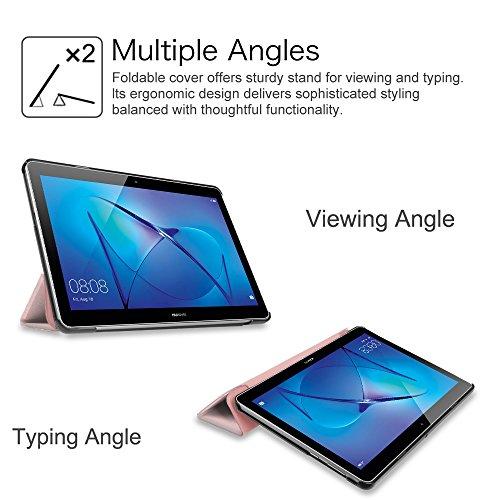 Fintie Huawei Mediapad T3 10 Hülle Case - Ultra Dünn Superleicht Flip Schutzhülle mit Zwei Einstellbarem Standfunktion für Huawei MediaPad T3 (9,6 Zoll) 24,3 cm Tablet-PC, Roségold - 6