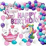 MMTX Suministros de Decoraciones de Fiesta de Unicornio, Enorme Globo de Unicornio, Feliz Cumpleaños Ballon Banner, para Niña Pequeña Fiesta de Cumpleaños de Dama de Niño, Boda (Púrpura)