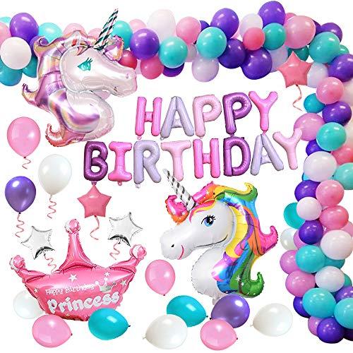 MMTX Einhorn Geburtstagsdeko Mädchen, Einhorn Party Dekorationen, Alles Gute zum Geburtstag Ballon...