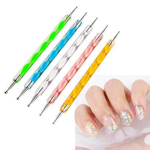 Ealicere 5 stücke Dotting Pen Strass Nail Art Dotting Tools Nail Design Marbleizing Werkzeug für Punkte und zum Marmorieren