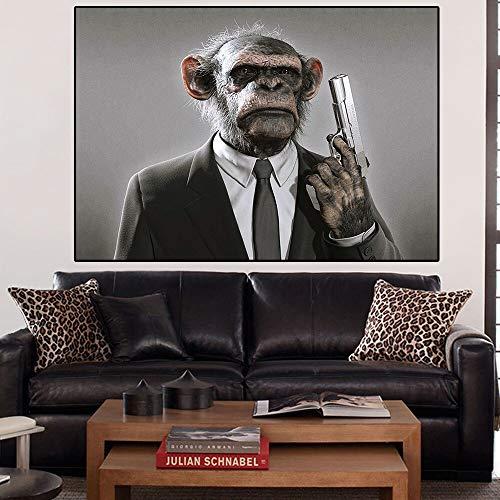 Arte de la Pared Animal Moderno orangután Lienzo Pintura Gorila Cartel e impresión Mural Sala de Estar decoración del hogar,Pintura sin Marco,50x60cm