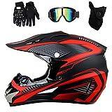 Triperson Dirt Bike Off-Road Motocross ATV Motorcycle Helmet for Men Women,Professional Competition Helmet DOT Certified (Red, Large)