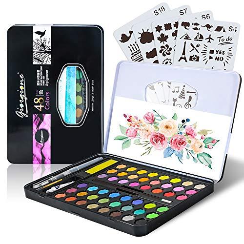 MMTX Kinder Aquarellfarben Set, Aquarellkasten Wasserfarben Set mit 48 Wasserfarben Farbkasten Aquarell Farbe Kuchen mit Pinsel und Malvorlage