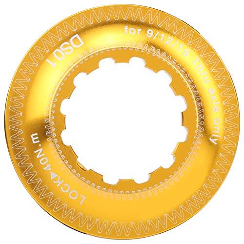 Cuque Adaptador de Bloqueo Central, Adaptador de Rotor de Freno de aleación de Aluminio, para Bicicletas, Bicicletas de montaña, buje de Bloqueo Medio para Exteriores(Black+Gold)