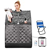 OppsDecor Portable Steam Sauna Spa, 2L Personal Therapeutic Sauna for Weight Loss Detox Relaxation at Home,One Person Sauna with Remote Control,Foldable Chair,Timer (29.5 x 35 x 40.3inch, Grey)