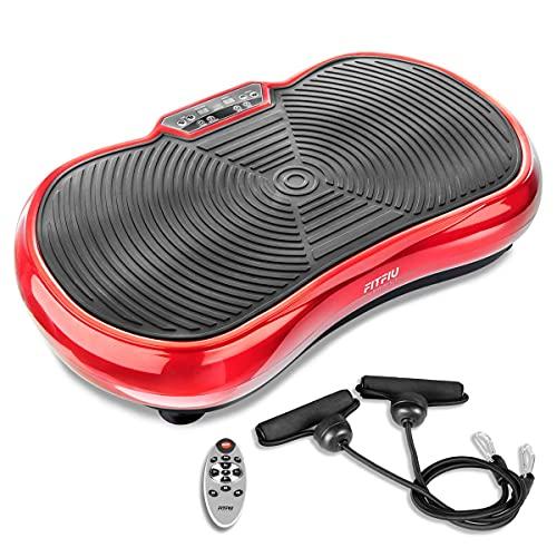FITFIU Fitness PV-100 - Piattaforma vibrante oscillante colore rosso con movimento su 2 piani, potenza 400w, 99 velocità, 9 programmi preimpostati, 2 corde elastiche, telecomando, peso massimo 150kg