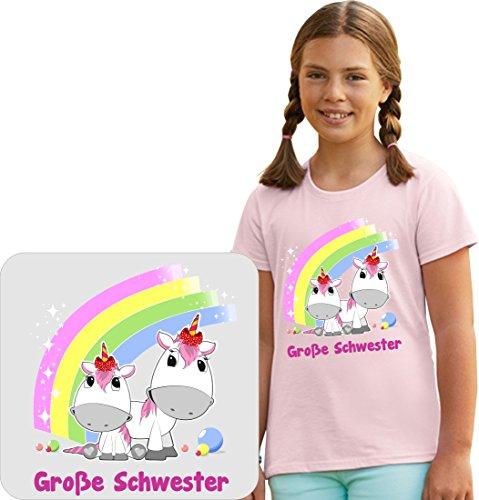 Sehr schönes Geschwister T-Shirt für die große Schwester mit Einhornmotiv von THDesign® inkl. Rückendruck Name