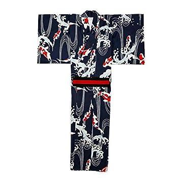 Men s Japanese Traditional Kimono Robe Long Sleeve Spa House Bathrobe Easy Wearing Yukata Sleepwear Nightgown Unisex with OBI Belt Set Navy