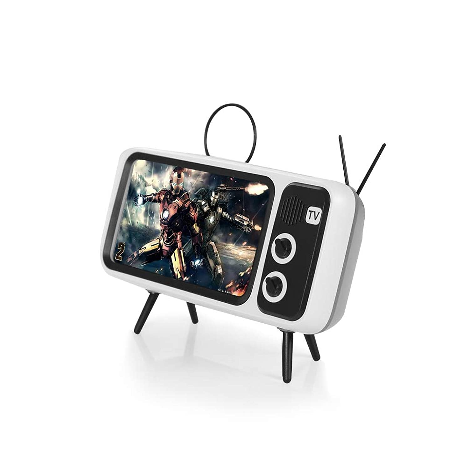 Retro TV Bluetooth 5.0 Speaker,Portable Bluetooth Radio Speaker with Phone Stand Holder,3D Stereo Sound Quality,USB Port Compatible iPhone/Android - Retro Television Shape (White)