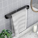 Homease Toallero de baño, sin taladrar, con regla de toalla, autoadhesivo, de aluminio, para cocina, cuarto de baño, balcón, inoxidable, 40 cm, color negro