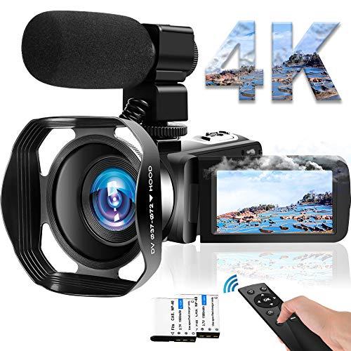Videocámara 4K WiFi, 48 MP, cámara de Vlogging, 30 FPS, visión nocturna por infrarrojos, pantalla táctil de 3 pulgadas, con micrófono y campana