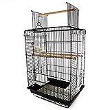 PawHut 22' H Steel Parrot Bird Cage Open Play Top Perch Feeding Bowl - Black
