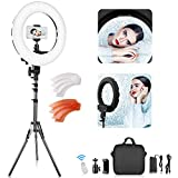 LED Ring Light with 2M Stand, FOSITAN 14 inch Outer/8.6 inch Inner 45W 5500K/3200K Dimmable LED Circle Lighting Kit with Bag for Camera Photo YouTube Vlog Makeup Video Shooting Salon Portrait Selfie