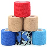 MUEUSS Vet Wrap Pet First Aid Tape Self Adherent Cohesive Bandage for Dogs Cats Horses Breathable Non-Woven Elastic Sport Tape for Arm Knee Ankle Sprain (6 Rolls, 2' x 5 Yards)