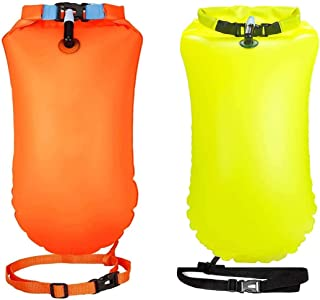 2 Pack 20L Swim Bouy Float Safe Life Swim Bags for Swimmers Open Water Swimming Safety Float with Storage Space Inflatable...