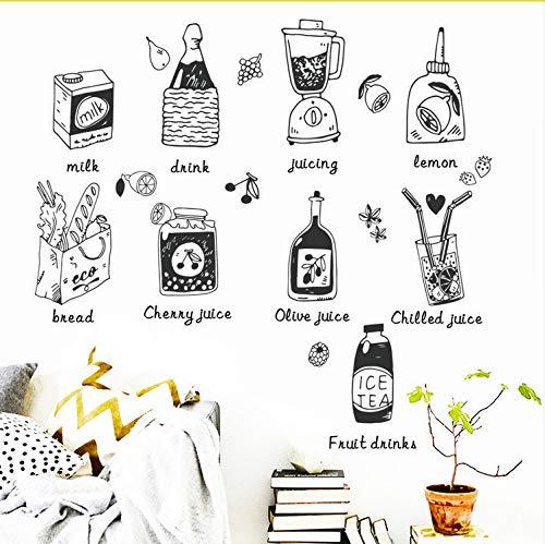 Cartoon Keuken Koelkast Deur Stickers Decoratieve Stickers Voedsel Fruit Sap Verwijderbare Muursticker Stickers Op De Muur Nieuwe