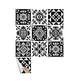 VOSAREA 10 Pezzi 20x20cm Motivo Floreale Adesivo da Parete Bianco e Nero Adesivo per Piast...