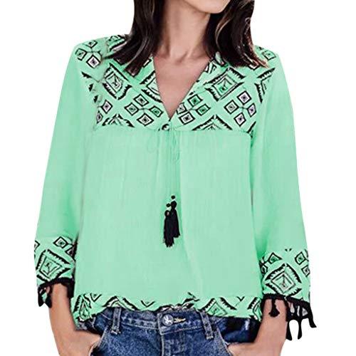 PYUIYY Damen Frauen Vintage V-Ausschnitt Print Quaste Bandage Langarm Bluse Shirt Tops