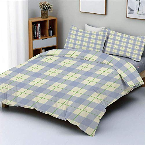 Duvet Cover Set,Celtic Style Classic Design Scottish Thin Lines Traditional Tile Decorative Decorative 3 Piece Bedding Set with 2 Pillow Sham,Lime Green Baby Blue White,Best Gif
