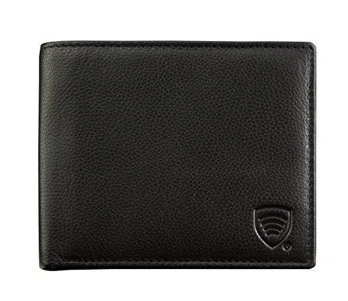 KORUMA - Portafoglio RFID/NFC, in pelle di ottima qualità, con carte di protezione (BBM), Nero (Nero) - KUK-74BL