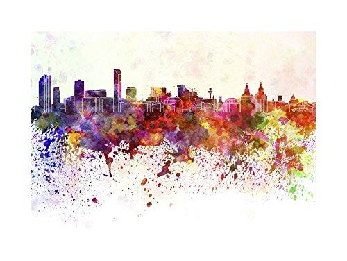 Wee Blue Coo Schilderij Cityscape Liverpool Skyline Verf Splash Ingelijste Muur Art Print