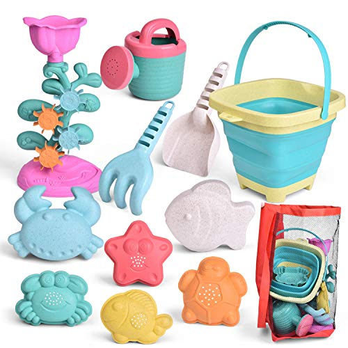 FUN LITTLE TOYS Kids Beach Sand Toy Set Foldable Beach Bucket Water Wheel Watering Can Shovel Rake Sand Molds and Mesh Bag EcoFriendly Sandbox Toys Kids Outdoor Toys 12 Piece