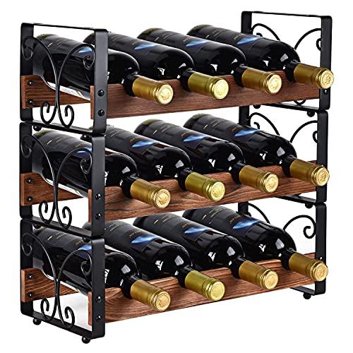 jale 3 Niveles de Vino apilable, Titular del Organizador Soporte de Soporte de Licor Estante de Almacenamiento de Madera Maciza y Hierro, 12 Botellas de Soporte del Titular del Organizador