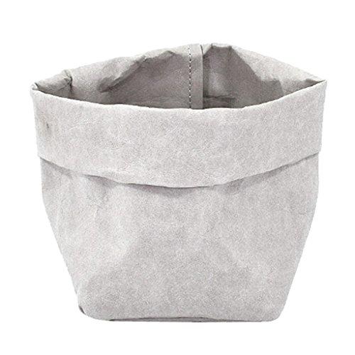 Sharplace Waschbar Kraftpapier Beutel Container Papier Tasche Sukkulenten Pflanzen Topf Beutel Blumentopf Cover Home Aufbewahrungstasche - Grau, 10x10x20cm