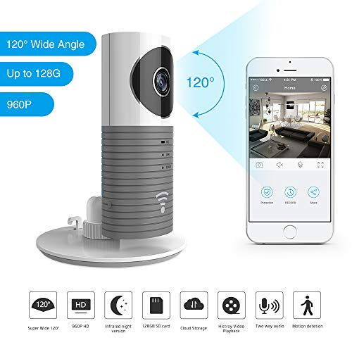 Clever Dog 2nd Generation 960P 120°Wide Angle Lens Wireless security wifi camera Support Max 128GB SD card/Support Cloud Stotage (Grey)