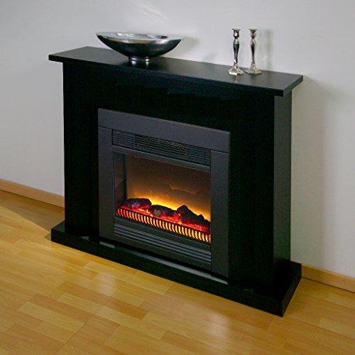 XANA-Möbel Elektrokamin Landhaus Standkamin Fichte Natur 2kW Heizleistung Kamin Kaminofen Elektrischer Wandkamin (schwarz) 117x93x33 cm Modern